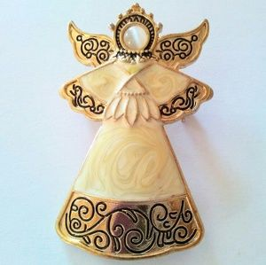 """Jewelry - Large Angel Brooch with Enameling 2"""" x 1 1/2"""""""